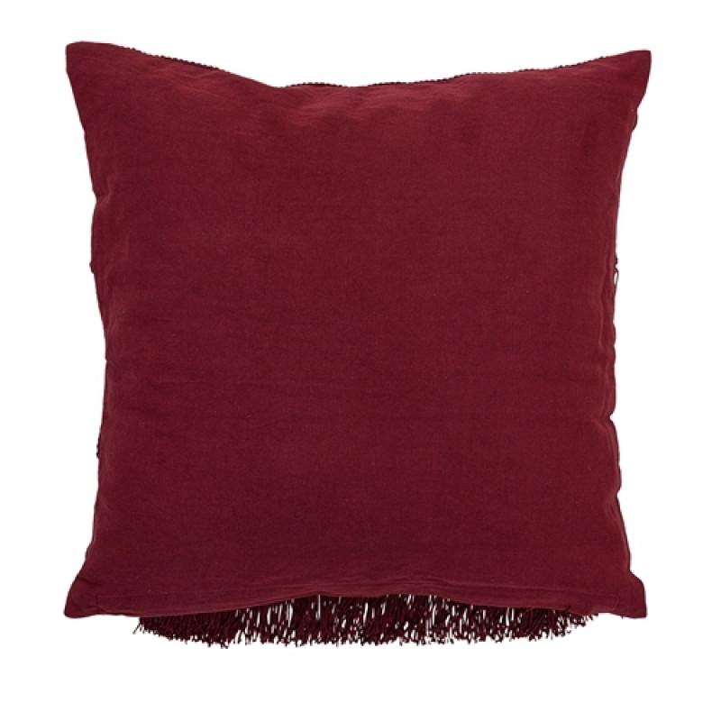 Bloomingville Kissen Fransen rot Rückseite Baumwolle ohne