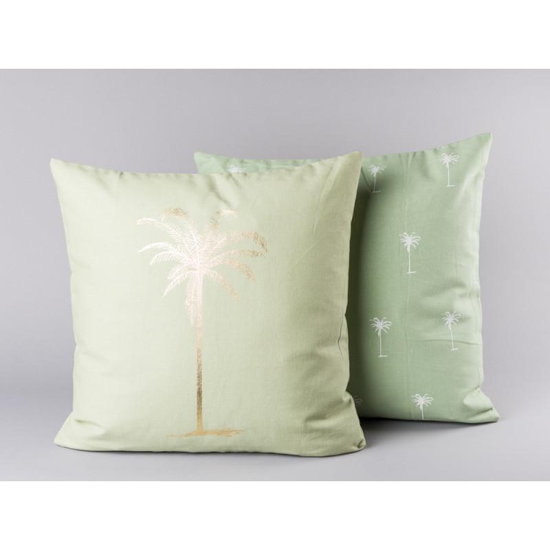 Bloomingville Kissen grün mit goldener Palme und kleinen