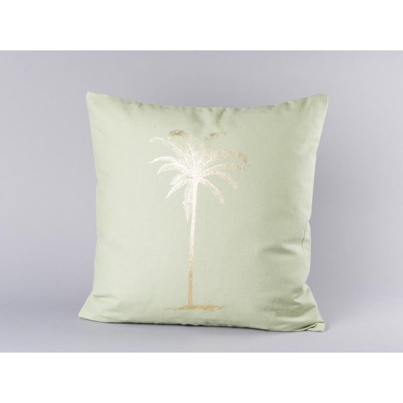 Bloomingville Kissen grün mit goldener Palme aus Baumwolle inklusive Füllung 45x45