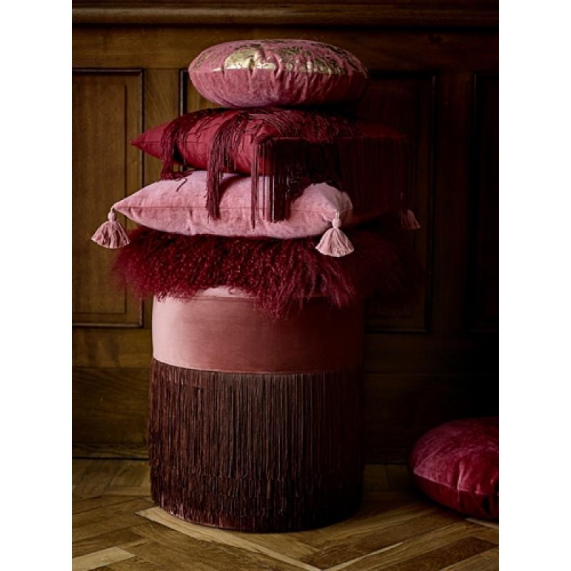 Bloomingville Kissen Rose Cotton rosa mit Bommeln und Fransen rot Fellkissen mit Pouf