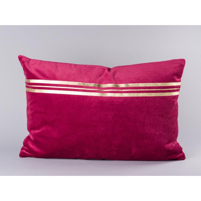 Bloomingville Kissen rot mit Streifen gold aus Samt weicher Baumwolle inklusive Füllung 40x60