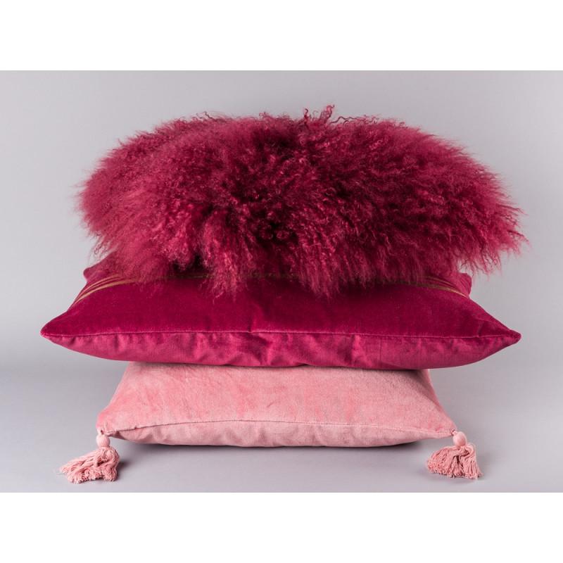 Bloomingville Kissen Stapel bordeaux rot und rosa mit Fransen im Art Deco Design Baumwolle Lammfell Kissen und mit Bommeln