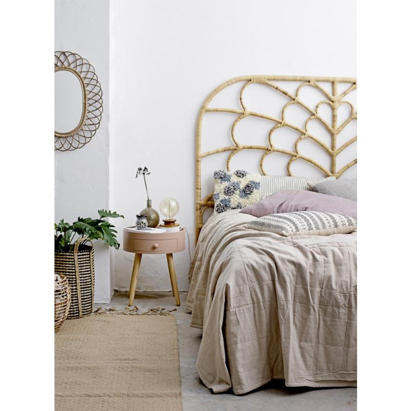Bloomingville Korb aus Seegras im Hochformat schwarz natur mit Henkel gerade Zylinder Form Schlafzimmer Beistelltisch