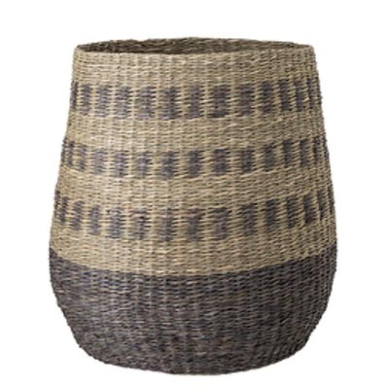 Bloomingville Korb Multi Color groß 42 cm hoch Aufbewahrungskorb oder Wäschekorb aus Seegras