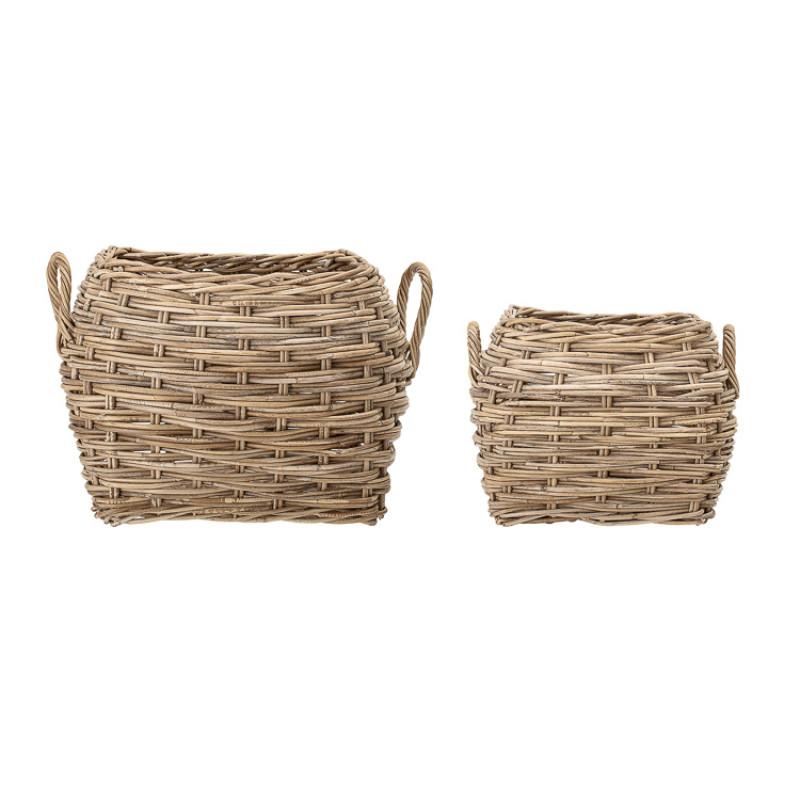 Bloomingville Korb Rattan eckig natur stabil als Blumenkübel Wäschekorb oder Aufbewahrungskorb Detail