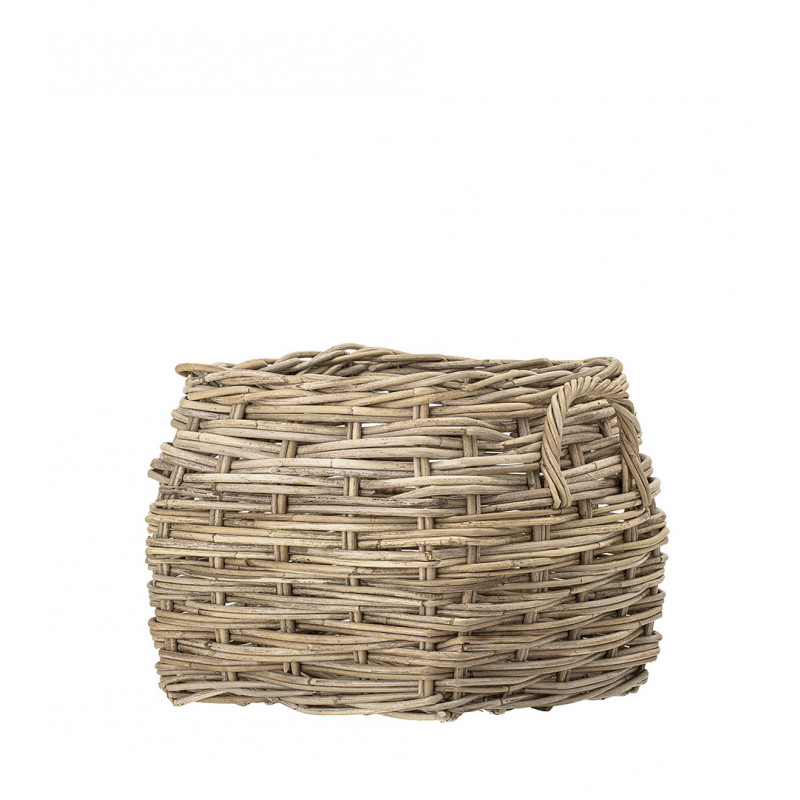 Bloomingville Korb Rattan eckig natur stabil mit Griffen als Blumentopf Wäschekorb oder Zeitungskorb 40x42 cm