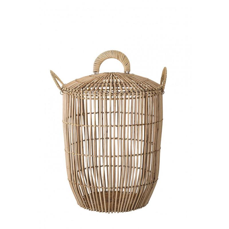 Bloomingville Korb Rattan mit Deckel rund mit Griffen als Wäschekorb oder Aufbewahrungskorb 47 cm hoch