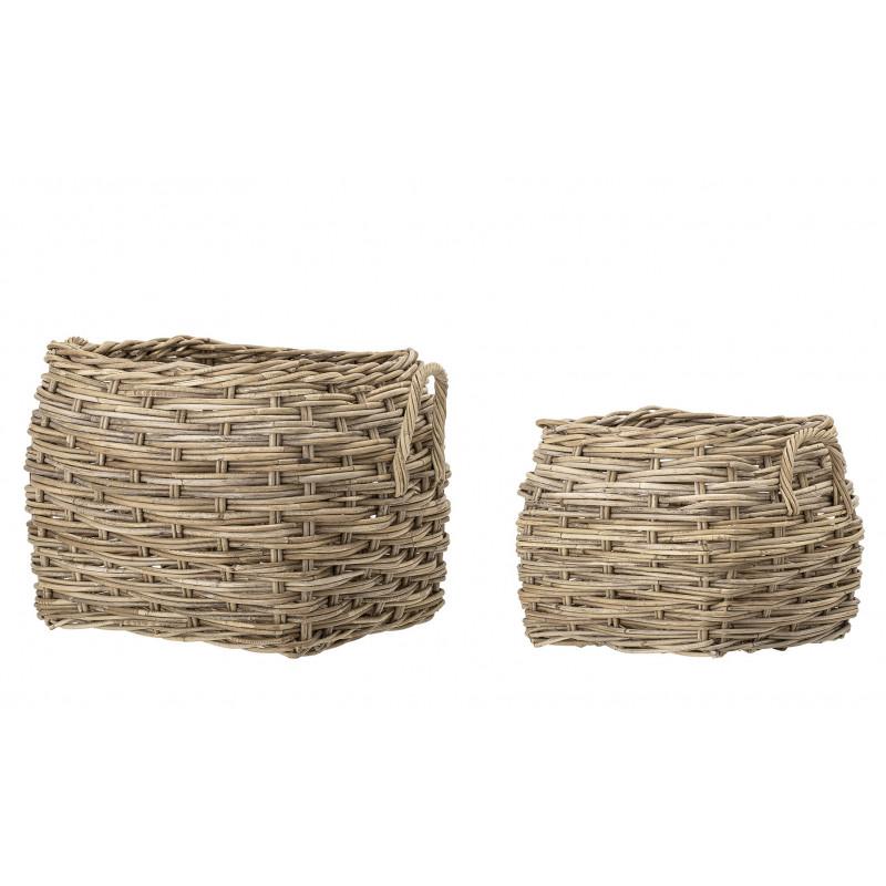 Bloomingville Korb Set Rattan eckig natur mit Griffen als Blumentopf Wäschekorb oder Aufbewahrungskorb 2er Set viereckige Körbe