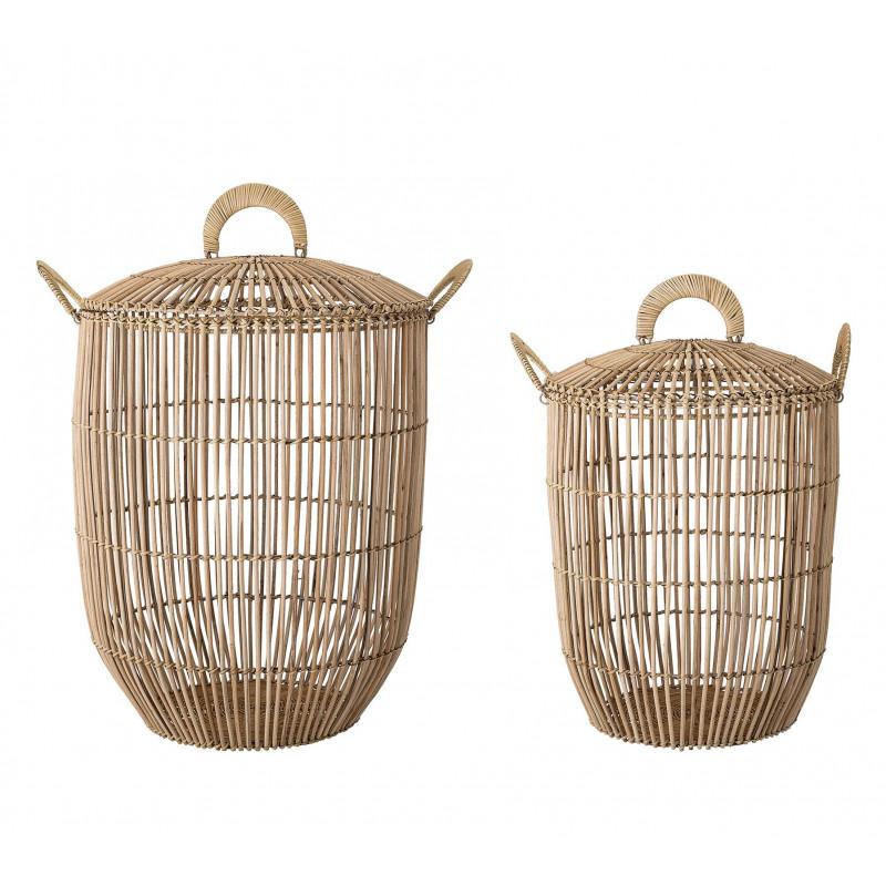 Bloomingville Korb Set Rattan mit Deckel zwei runde Körbe mit Griffen als Wäschekorb oder Aufbewahrungskorb