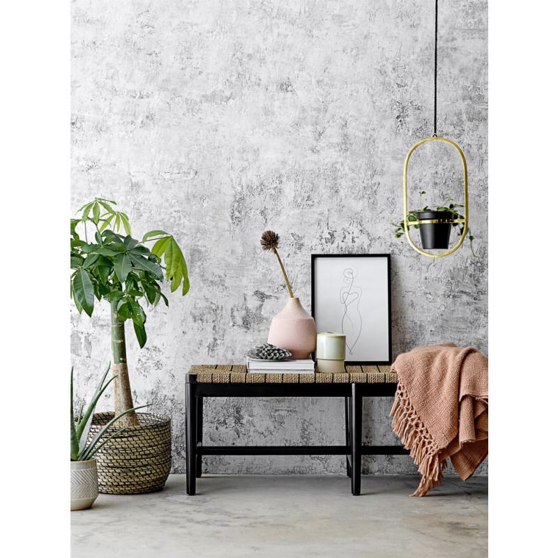 Bloomingville Korb Set Seegras schwarz natur als Blumentopf mit Zimmerpflanze