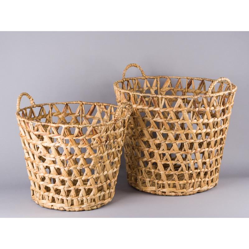 Bloomingville Korb Set Wasserhyazinthe mit Henkeln groß und klein als Zeitungskorb oder Wäschekorb