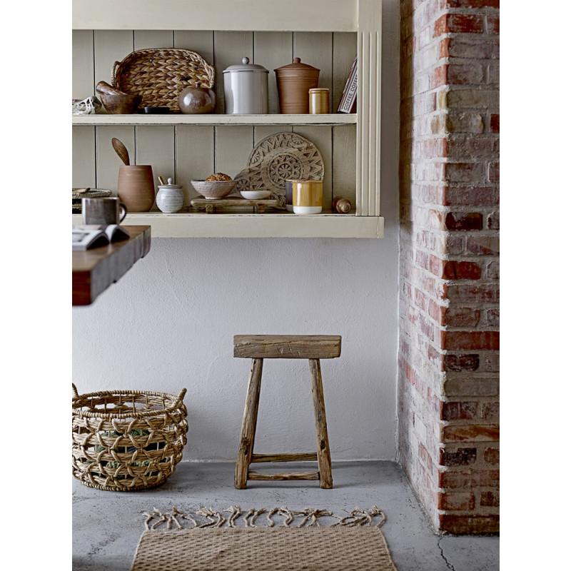 Bloomingville Korb Wasserhyazinthe mit Henkel Zeitungskorb Aufbewahrungskorb mit Hocker in Küche