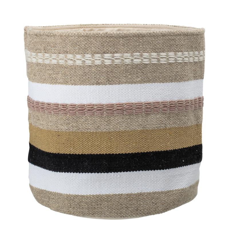 Bloomingville Korb Wolle Baumwolle mit Streifen in natur weiß schwarz 36x40 cm