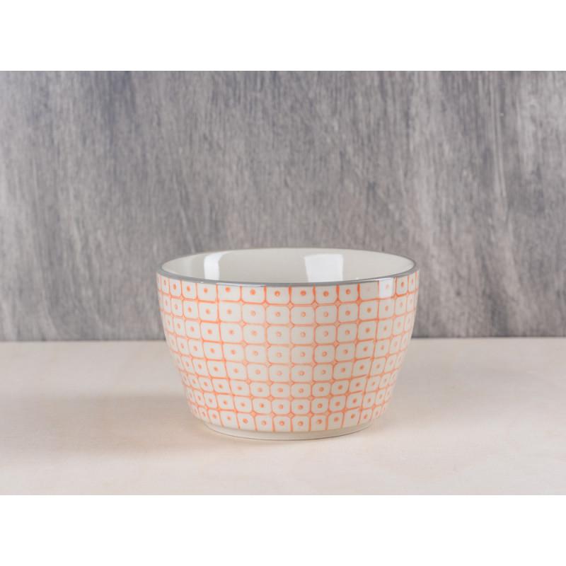 Bloomingville Müslischale Keramik Bowl orange mit grauem Rand Schale aus Carla Geschirr Serie