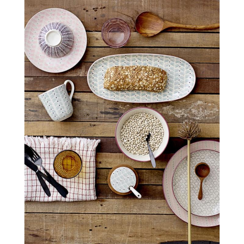 Bloomingville Müslischale MAYA Keramik Schüssel Geschirr Schale creme rosa rot grau gedeckter Tisch Frühstück