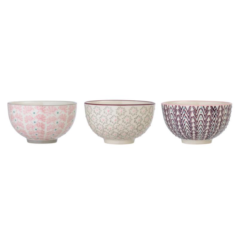 Bloomingville Müslischale MAYA Keramik Schüssel Geschirr Schale creme rosa rot grau seitlich Detail