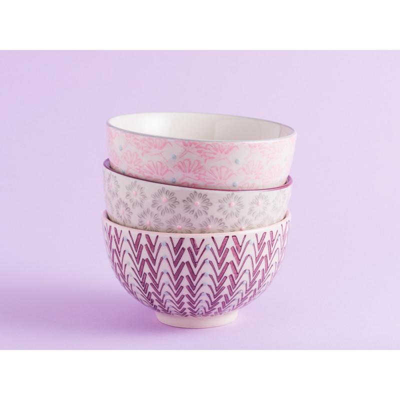 Bloomingville Müslischale MAYA Keramik Schüssel klein 0,35l Geschirr Schale creme rosa grau rot alle Farben Stapel