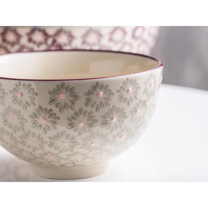 Bloomingville Müslischale MAYA Keramik Schüssel klein Geschirr Schale grau rosa Detail