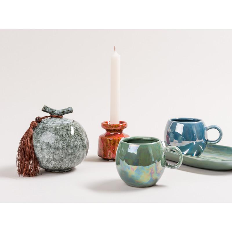 Bloomingville Paula blau metallic Becher Teller Kerzenhalter und Dose im Art Deco Design