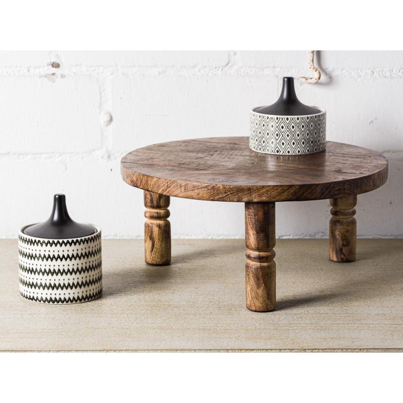 Bloomingville Pedestal Tablett Rund Holz Servierbrett mit Beinen Deko mit Dosen schwarz weiß