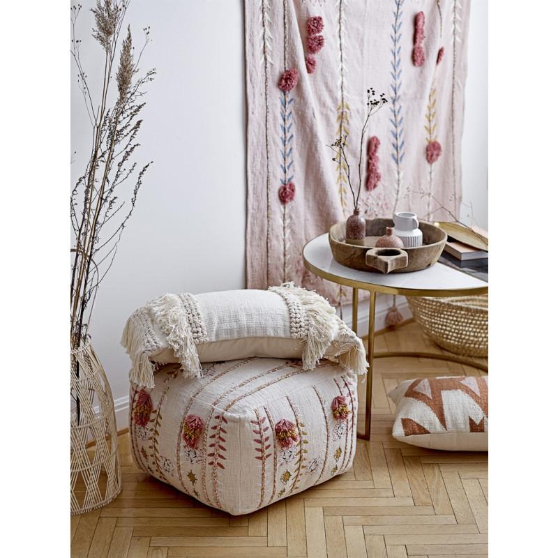 Bloomingville Pouf Baumwolle Creme weiss Bestickt Sitzpuff Hygge Dekoration floral