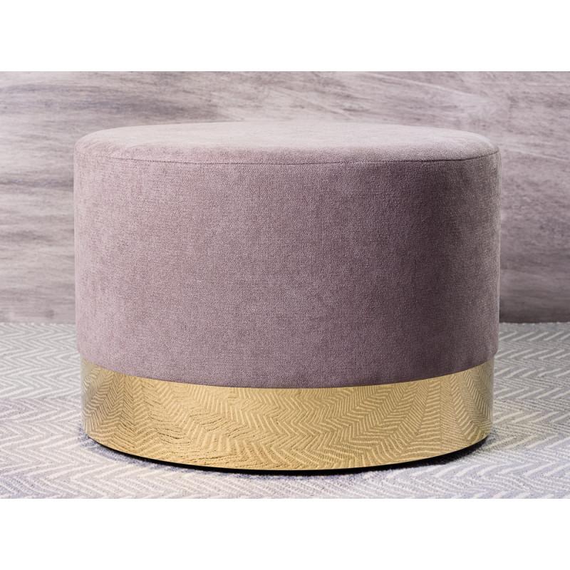 Bloomingville Pouf Dia Grau mit Gold Sockel 40x55 cm Hocker rund als Sitzpuff oder Beistelltisch puristisch modern