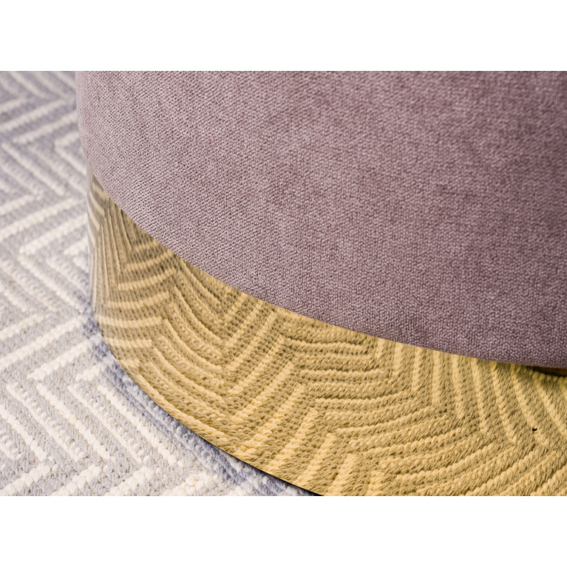 Bloomingville Pouf Dia Grau mit Gold Sockel 40x55 cm Hocker rund Detail Sockel