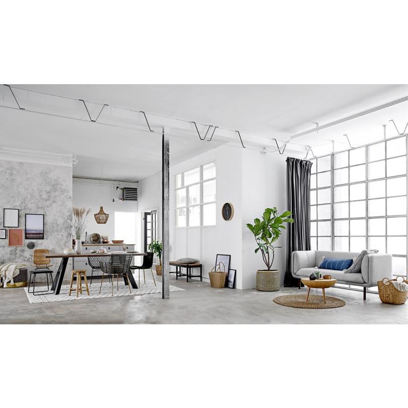 Bloomingville Pouf Dia Grau mit gold Sockel Hocker rund als Sitzpuff oder Beistelltisch Wohnzimmer Living Dekoration