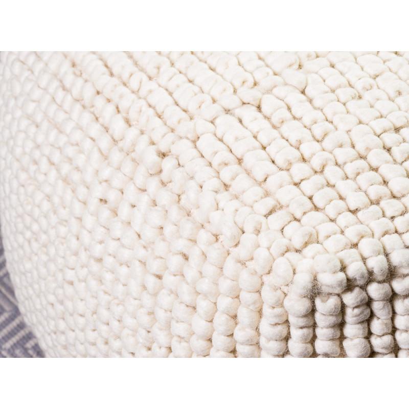 Bloomingville Pouf Fleur de Sel aus Wolle natur farbig eckige Form Detail Verarbeitung