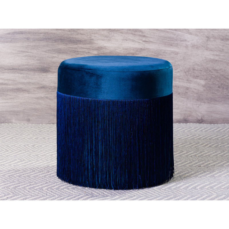 Bloomingville Pouf Grandma Sitzpuff Blau Samt mit Fransen 40x45 cm