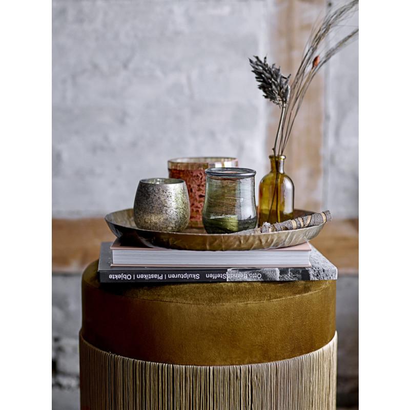 Bloomingville Pouf Grandma Sitzpuff Gold Gelb mit Fransen Samt Stoff Dekoration Bücher Tablett Vasen