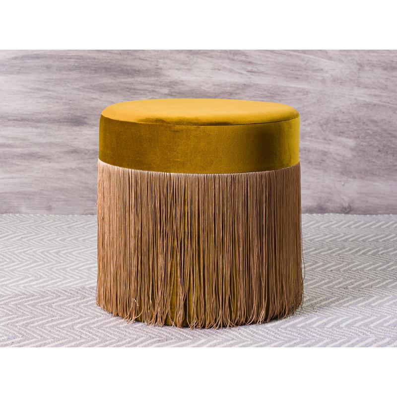 Bloomingville Pouf Grandma Sitzpuff Gold Gelb Samt mit Fransen 40x45 cm