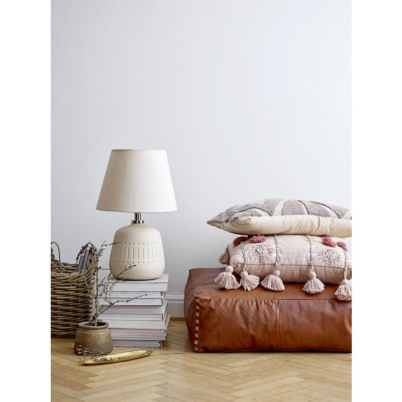 Bloomingville Pouf Leder Braun Sitzpuff 60x60 cm Bodenkissen Höhe 20 cm Hygge Deko mit Kissen und Lampe Leseplatz