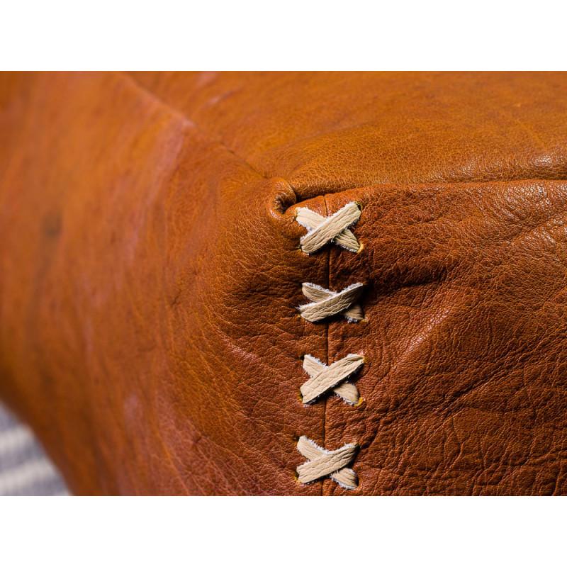 Bloomingville Pouf Leder Braun Sitzpuff 60x60x20 cm Bodenkissen Vintage Hygge Detail Material Leder