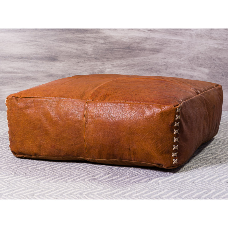 Bloomingville Pouf Leder Braun Sitzpuff 60x60x20 cm Bodenkissen Vintage Hygge