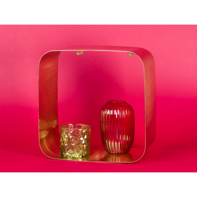 Bloomingville Regal gold Metall Display quadratisch 30 cm mit Deko Vase