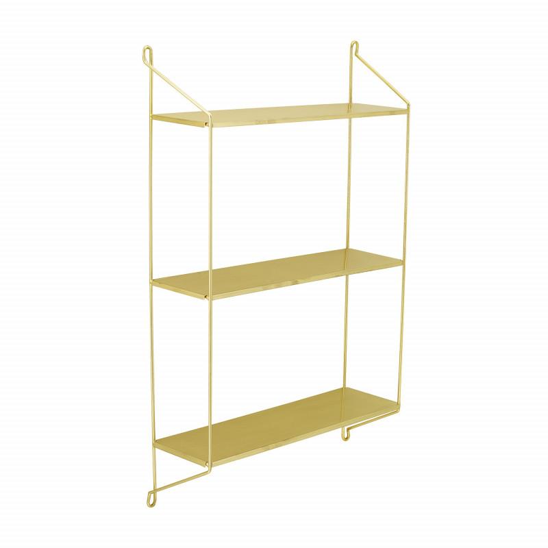 Bloomingville Regal Layla Gold Wandregal mit 3 Böden aus Metall