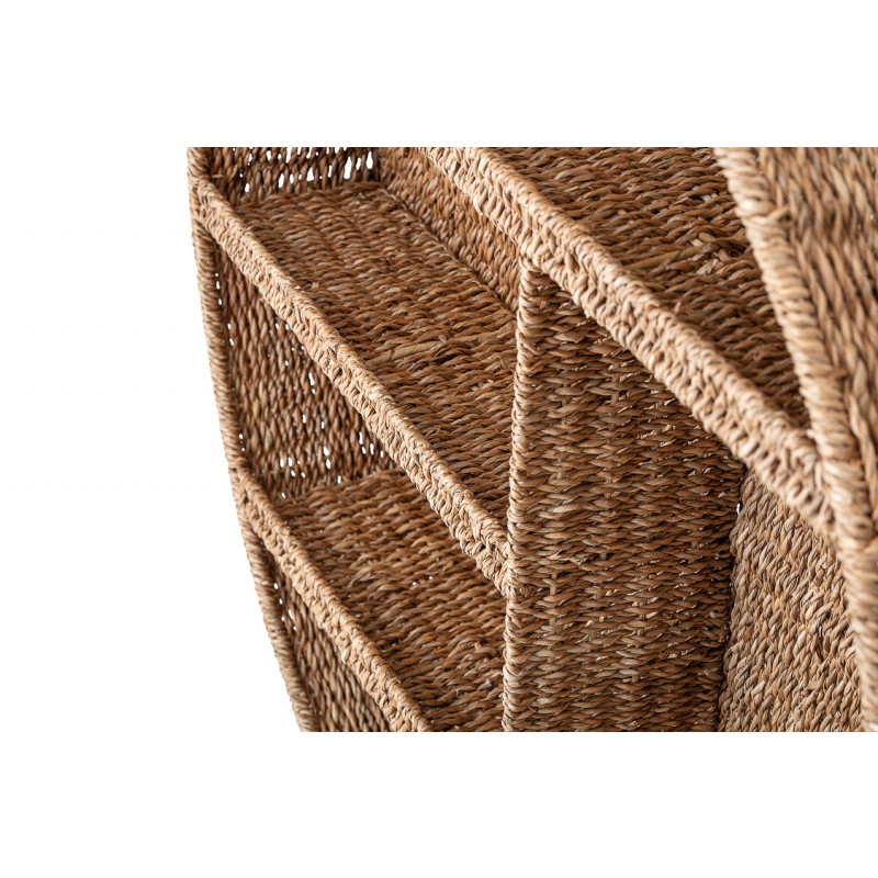 Bloomingville Regal Rund Wandregal aus Rattan Bankuan Durchmesser 76 cm gross Mehrere Fächer Detail