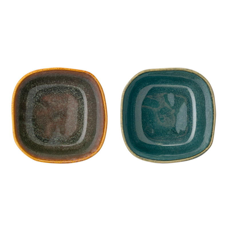 Bloomingville Schale AIME 2er Set Müslischale aus Keramik in braun und blau von oben