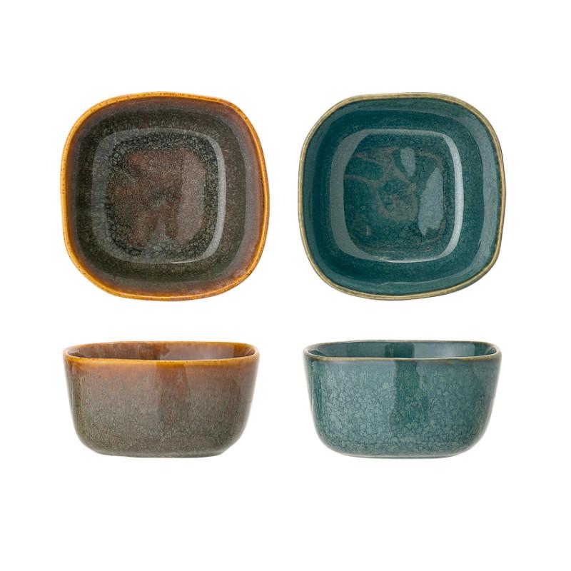 Bloomingville Schale AIME 2er Set Müslischale aus Keramik in braun und blau Detail