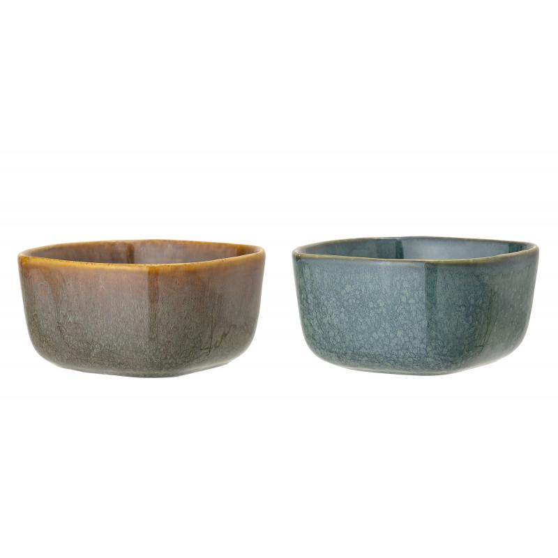 Bloomingville Schale AIME 2er Set Müslischale aus Keramik in braun und blau