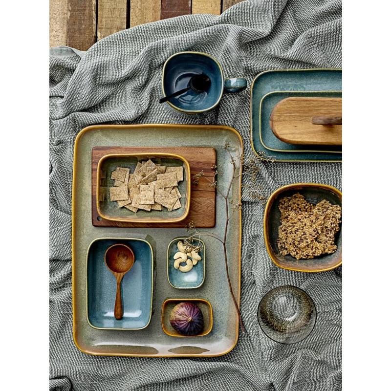 Bloomingville Schale AIME Müslischale aus Keramik in braun und blau Deko Frühstück
