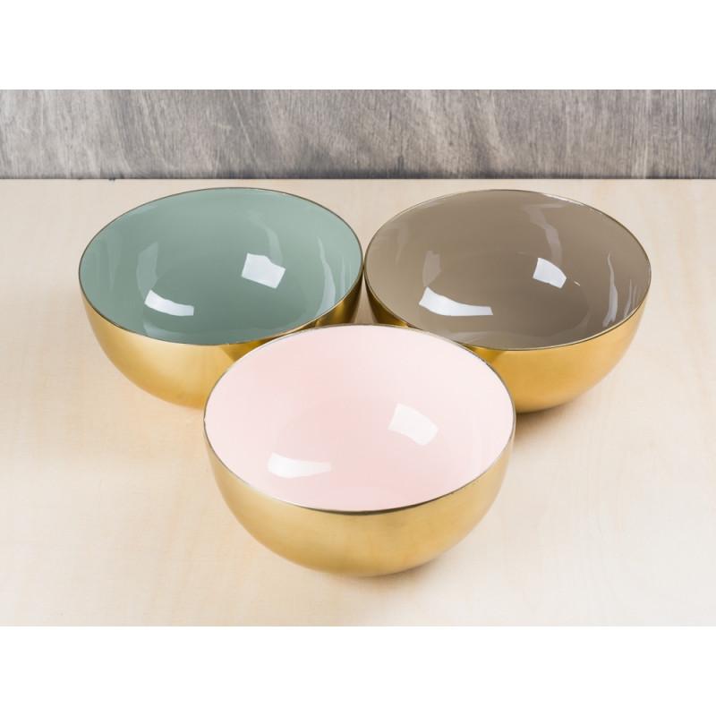 Bloomingville Schale gold außen innen rosa braun und grün 15 cm