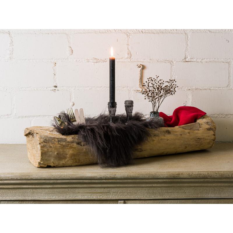Bloomingville Schale Holz Unikat schwere Ausführung aus recyceltem Holz einzigartig Dekoidee mit Fell und Kerzenständer Tischdeko