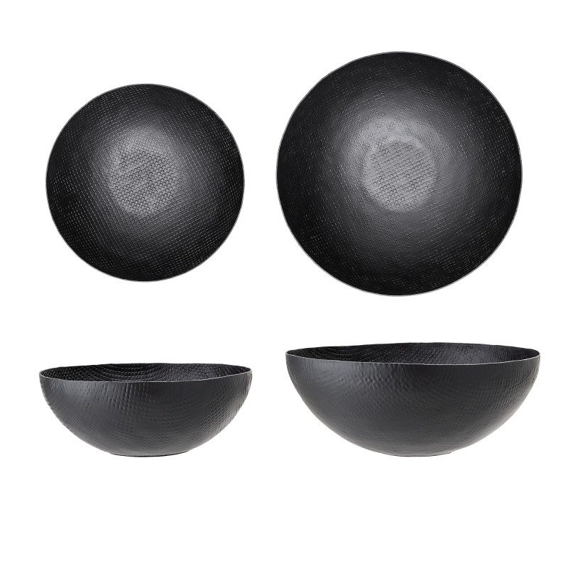 Bloomingville Schalen Set Schwarz aus Metall 32 und 38 cm Salatschale oder Obstschale aus Aluminium