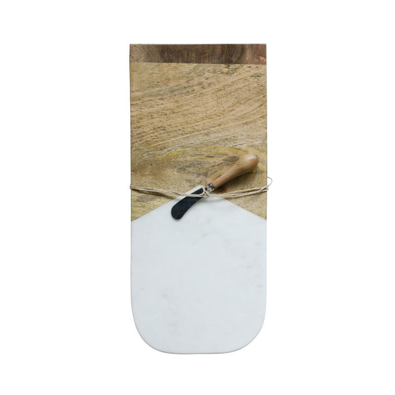 Bloomingville Schneidebrett Marmor Holz mit Messer Länge 44 cm Fleur de Sel Kollektion