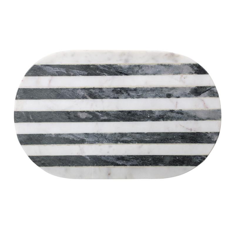 Bloomingville Schneidebrett Marmor Streifen Schwarz Weiß