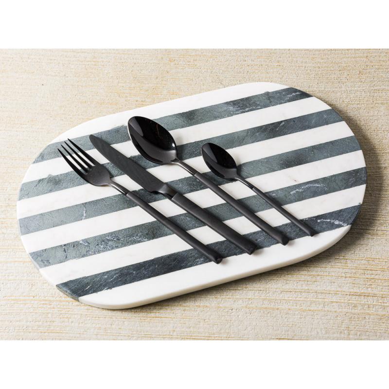 Bloomingville Schneidebrett Servierbrett Marmor Schwarz Weiß gestreift oval mit Besteck aus Edelstahl in schwarz Messer Gabel Löffel Teelöffel