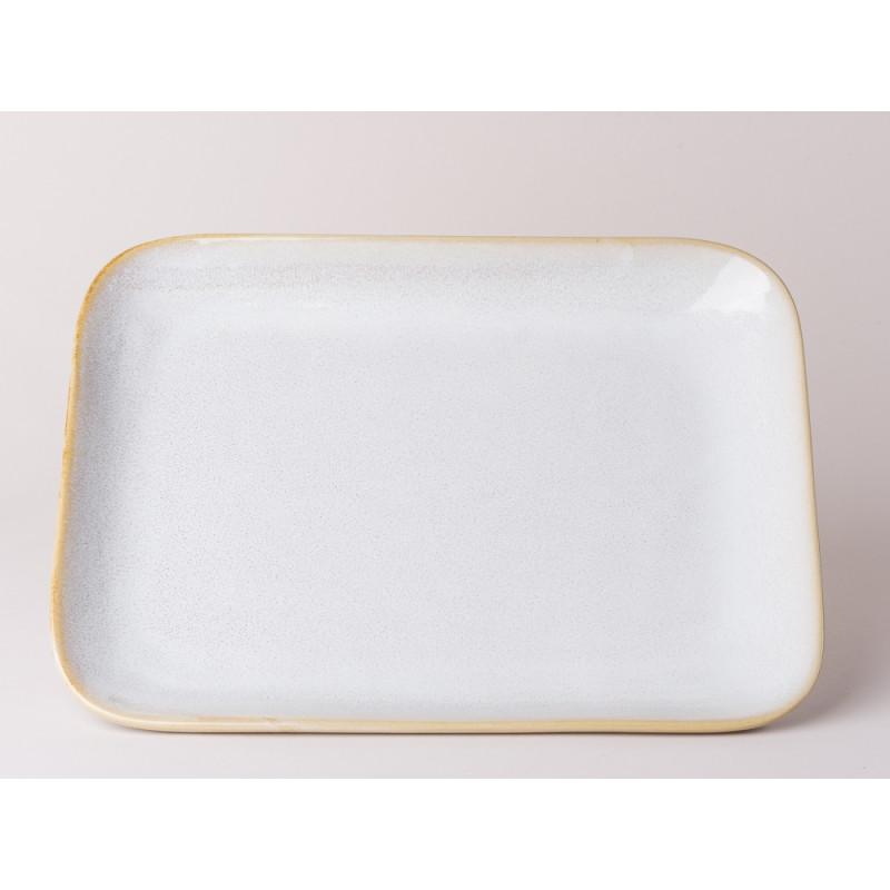 Bloomingville Servierplatte Carrie Geschirr Serie aus Keramik in creme beige großer Teller eckig 25 x 31,5 cm