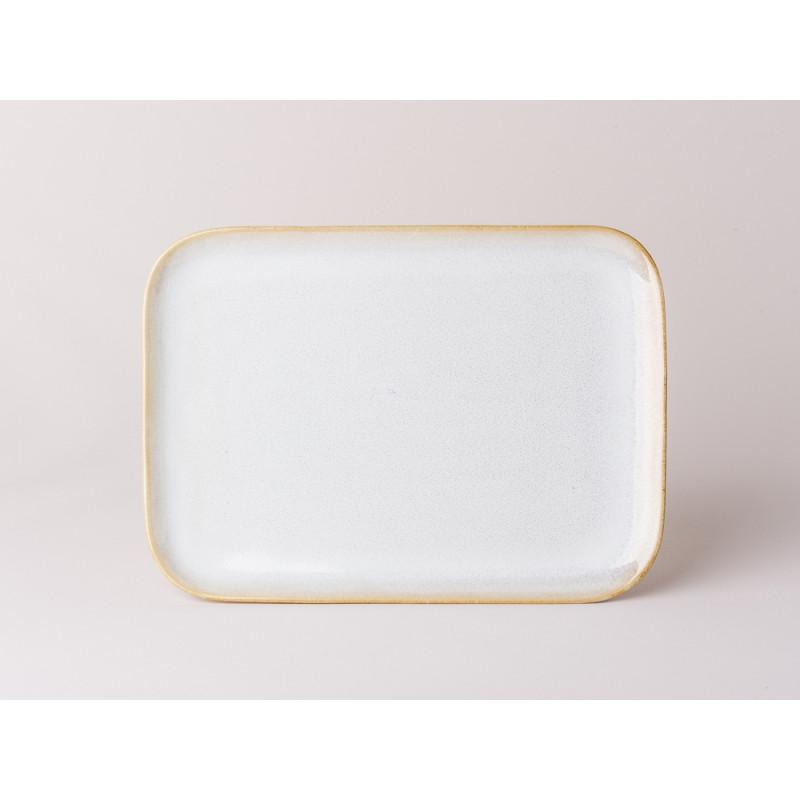 Bloomingville Servierplatte Carrie Geschirr Serie aus Keramik in creme beige Teller eckig 18 x 25 cm groß